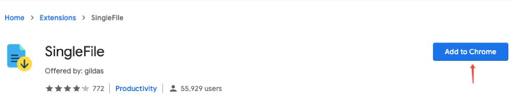 SingleFile Zu Chrome hinzufügen