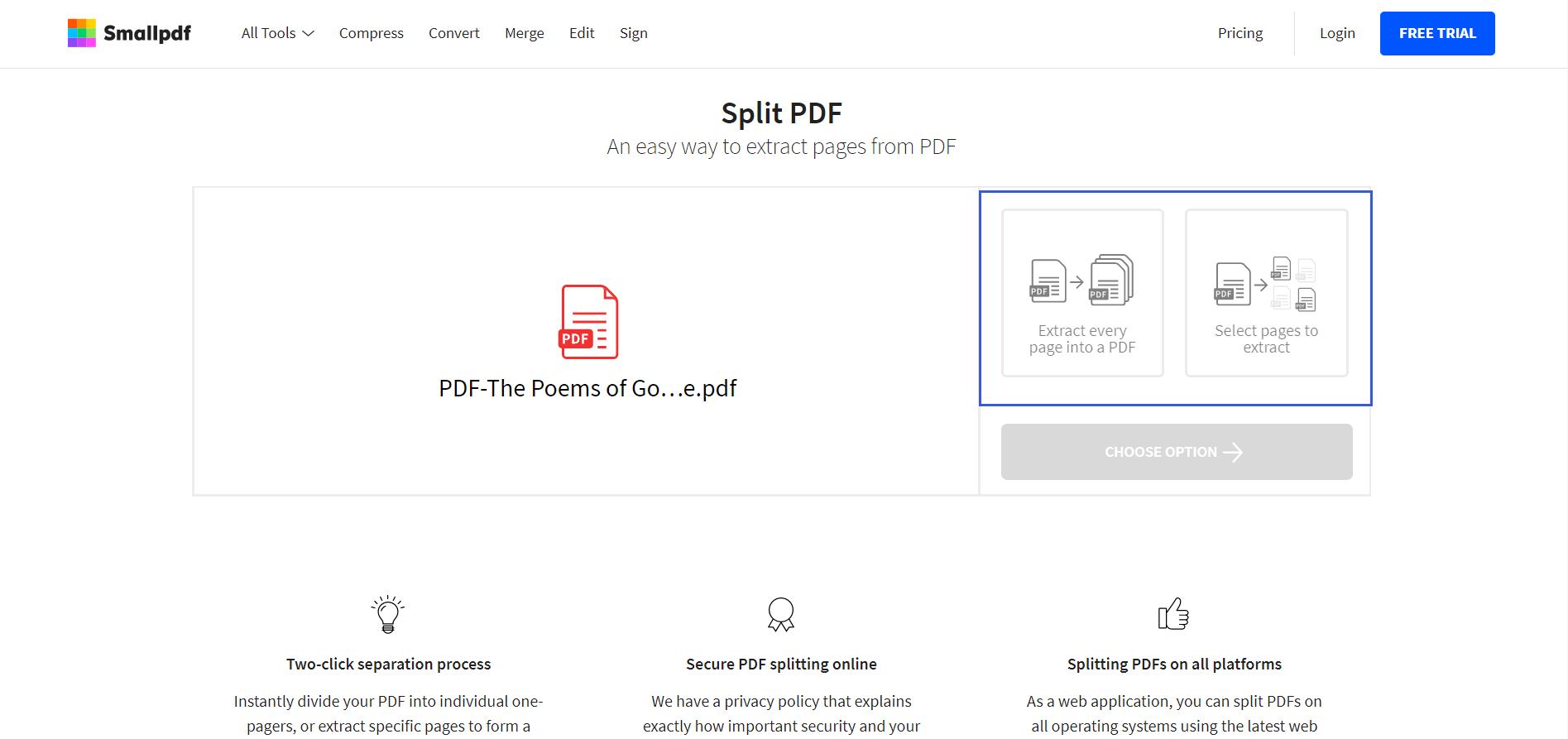 Modo de selección de PDF dividido de Smallpdf