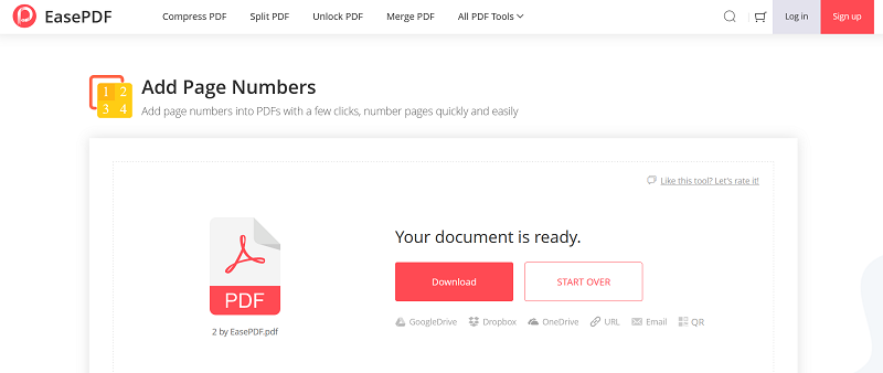 EasePDF Add Page Numbers Download File