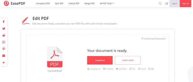 EasePDF Edit PDF Save Edited PDF