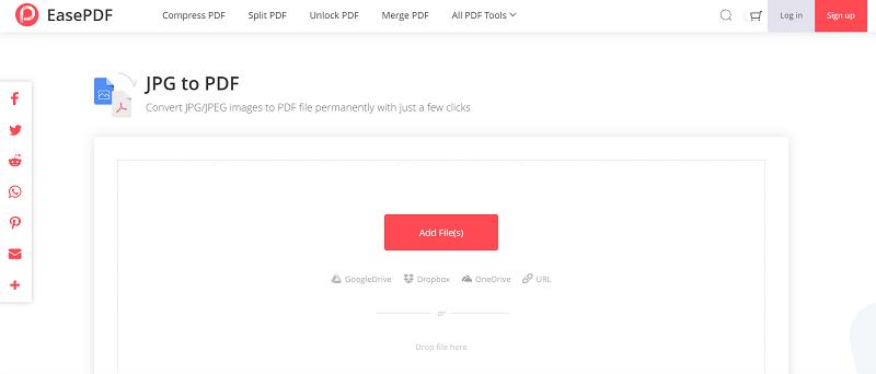 EasePDF JPG to PDF Add File