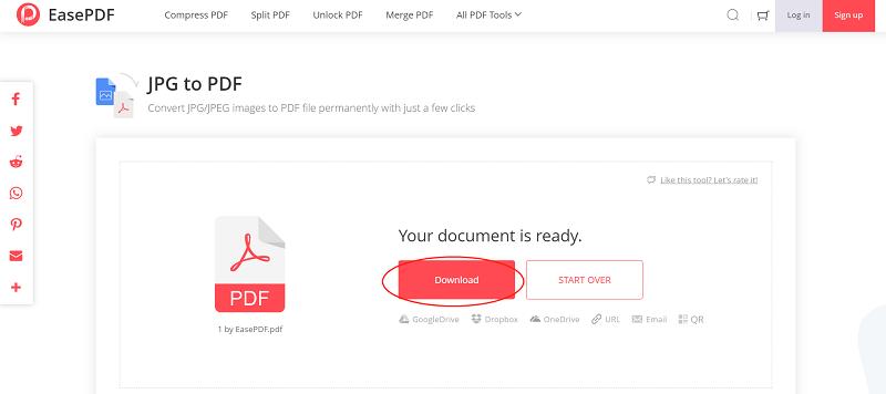 EasePDF JPG to PDF Download File
