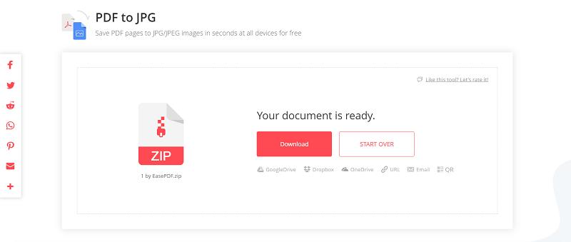 EasePDF PDF to JPG Download File