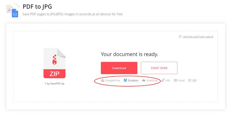 EasePDF PDF to JPG Save to Cloud