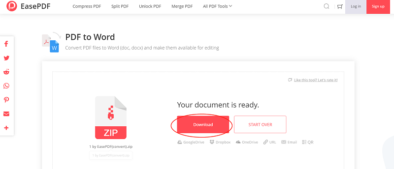 EasePDF PDF to Word Download Zip File