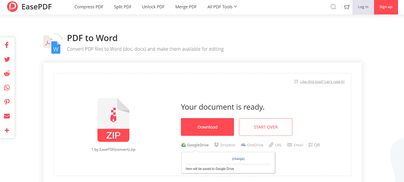 EasePDF PDF to Word Save to Cloud