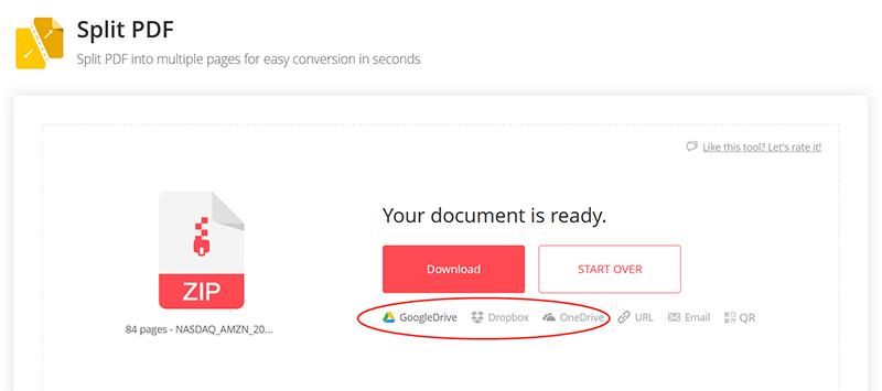 EasePDF Split PDF Save to Cloud