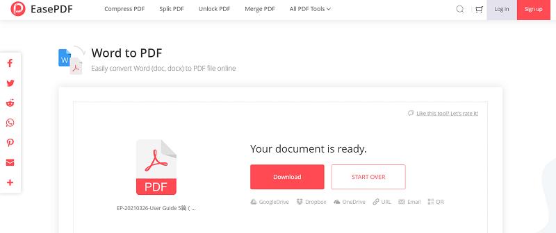 EasePDF Word to PDF Download File